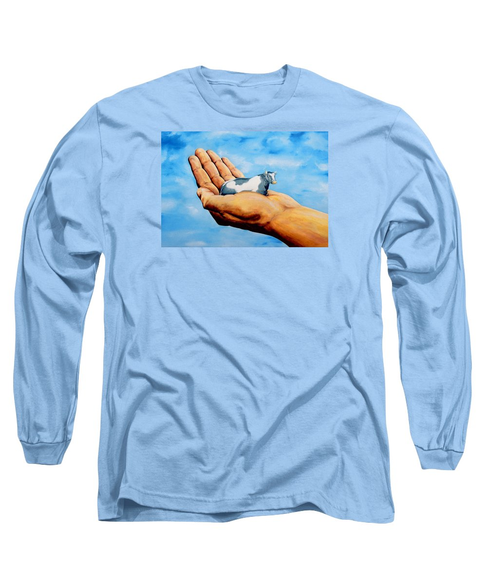 Surreal Long Sleeve T-Shirt featuring the painting Cow In Hand by Mark Cawood