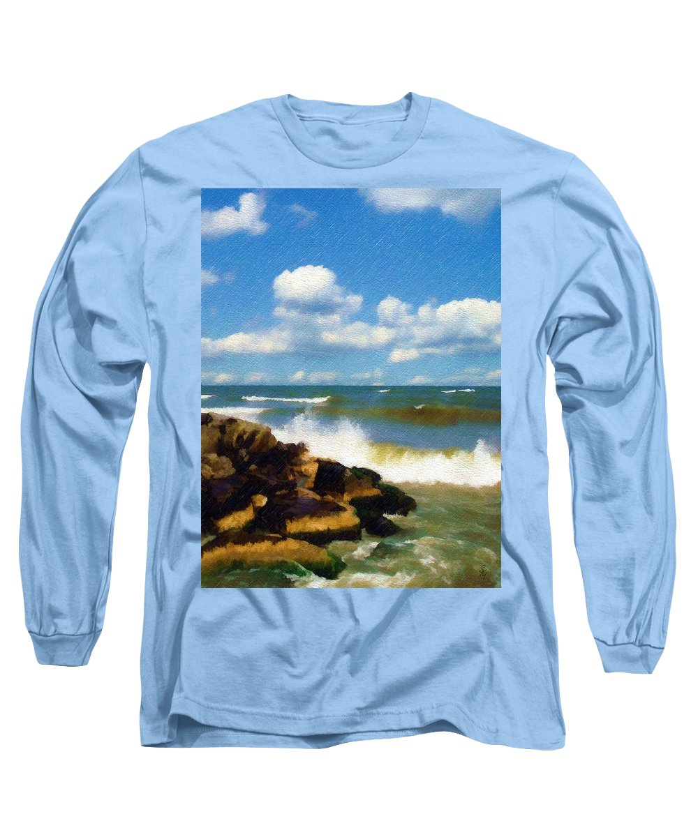 Seascape Long Sleeve T-Shirt featuring the photograph Crashing Into Shore by Sandy MacGowan