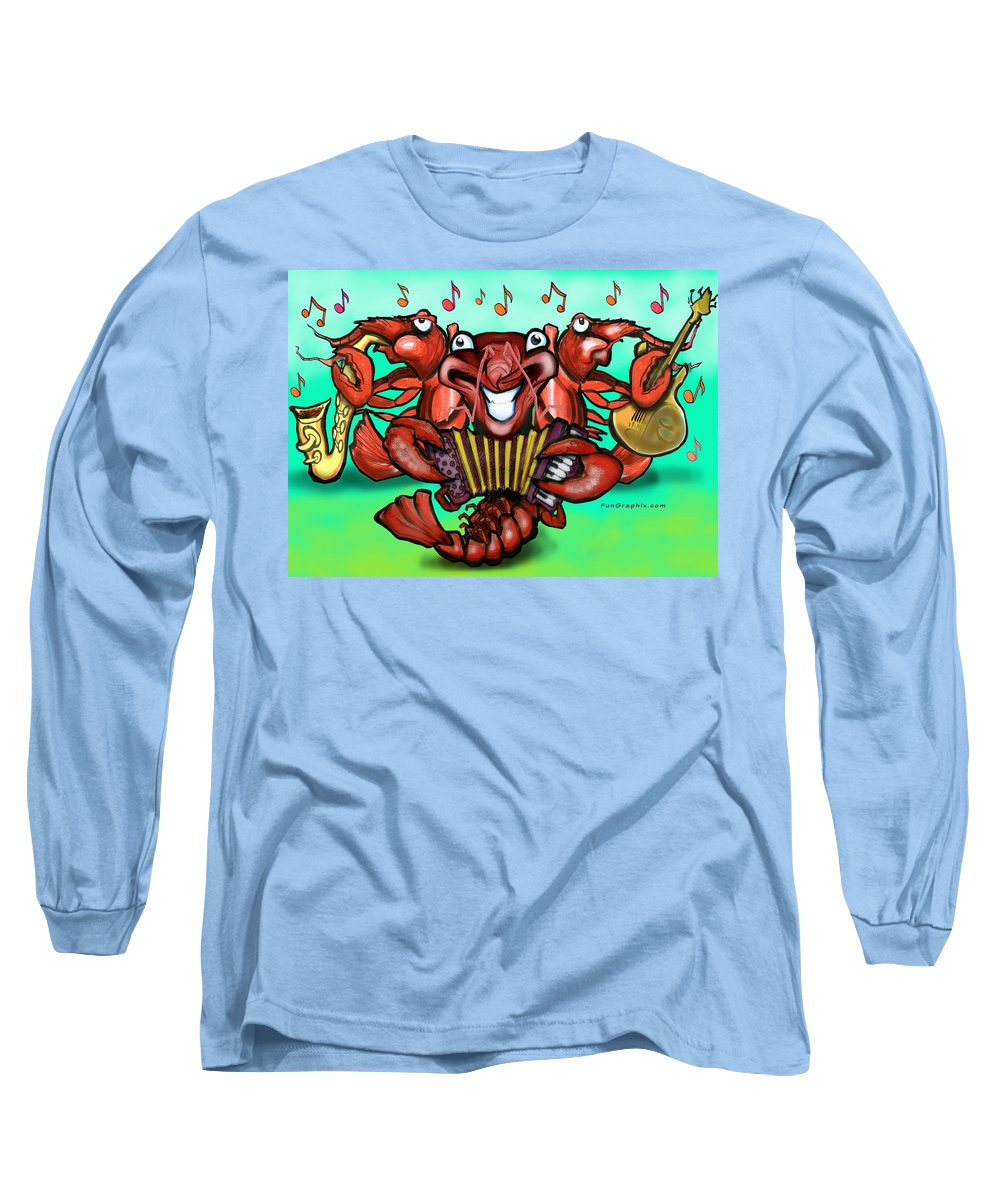 Crawfish Long Sleeve T-Shirt featuring the greeting card Crawfish Band by Kevin Middleton