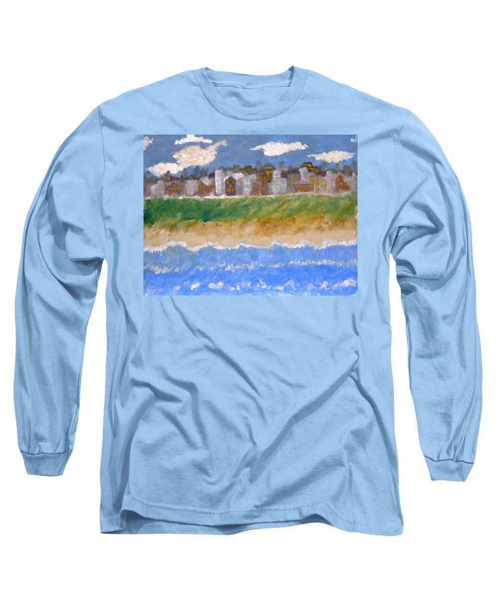 Seascape Long Sleeve T-Shirt featuring the painting Crowded Beaches by R B