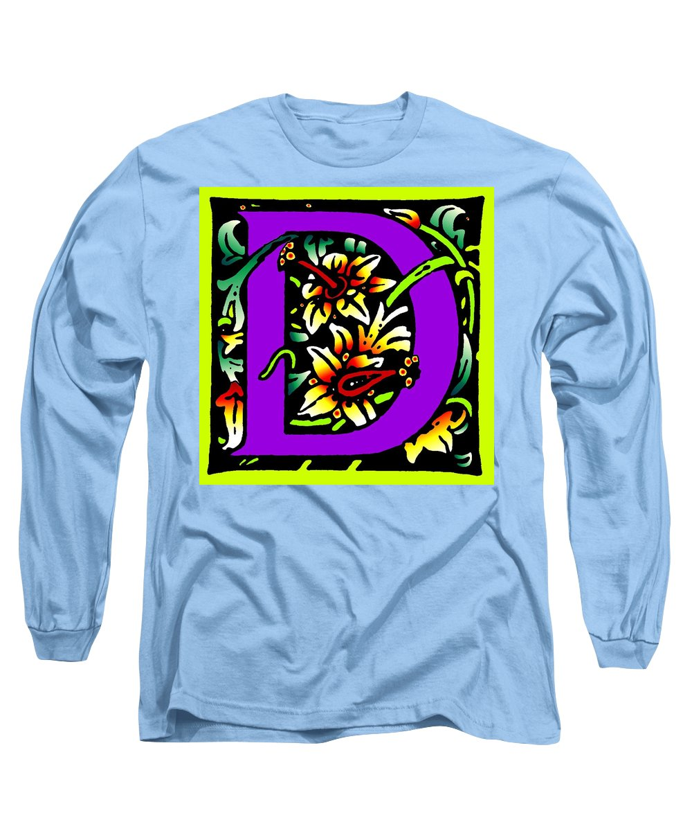 Alphabet Long Sleeve T-Shirt featuring the digital art D In Purple by Kathleen Sepulveda