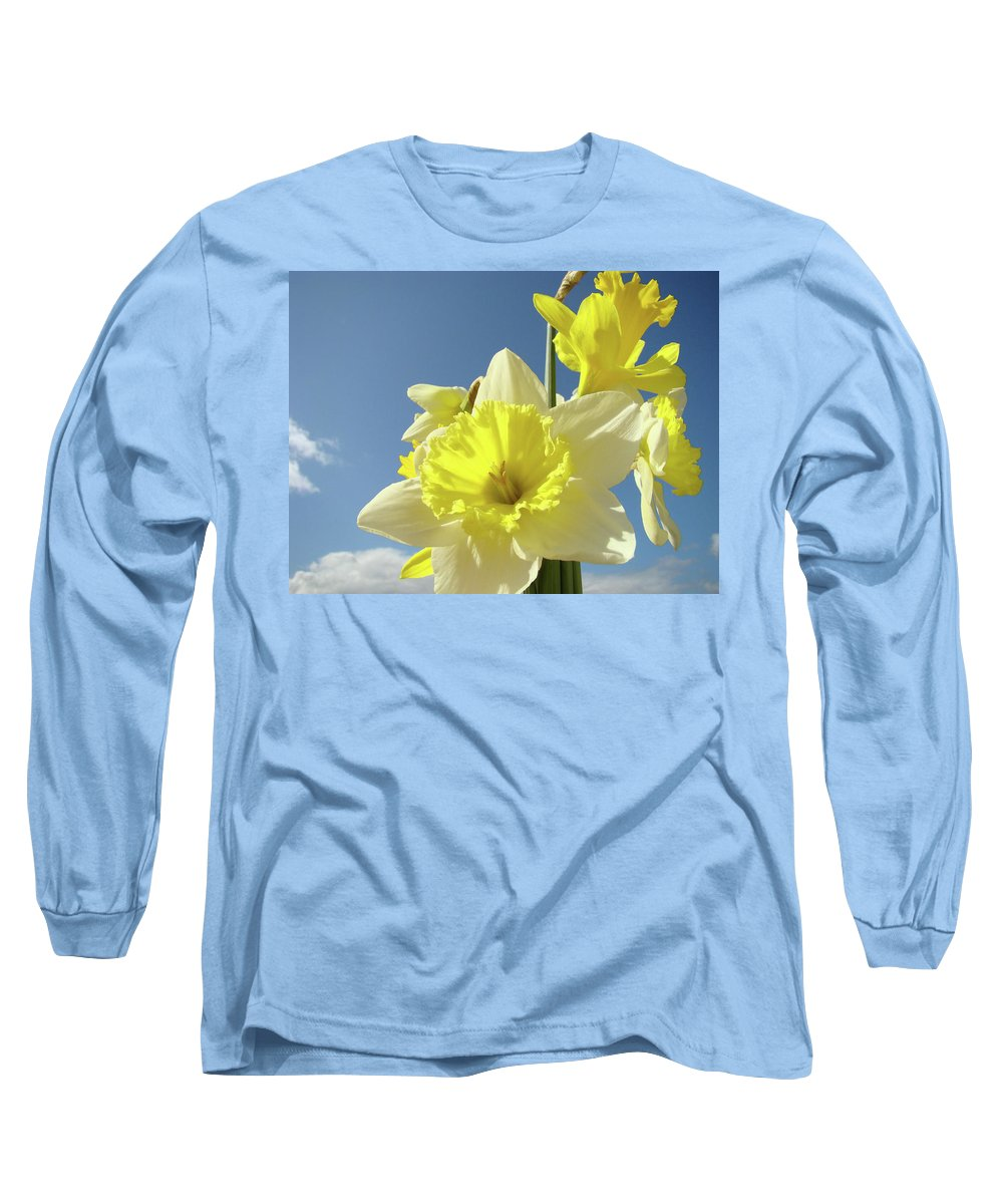 �daffodils Artwork� Long Sleeve T-Shirt featuring the photograph Daffodil Flowers Artwork Floral Photography Spring Flower Art Prints by Baslee Troutman