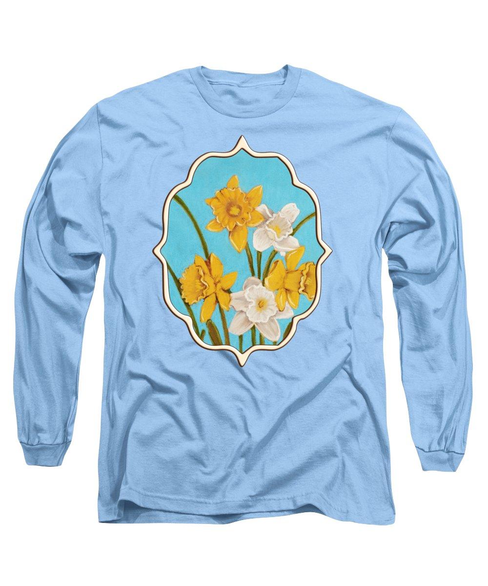 Daffodil Long Sleeve T-Shirt featuring the painting Daffodils by Anastasiya Malakhova