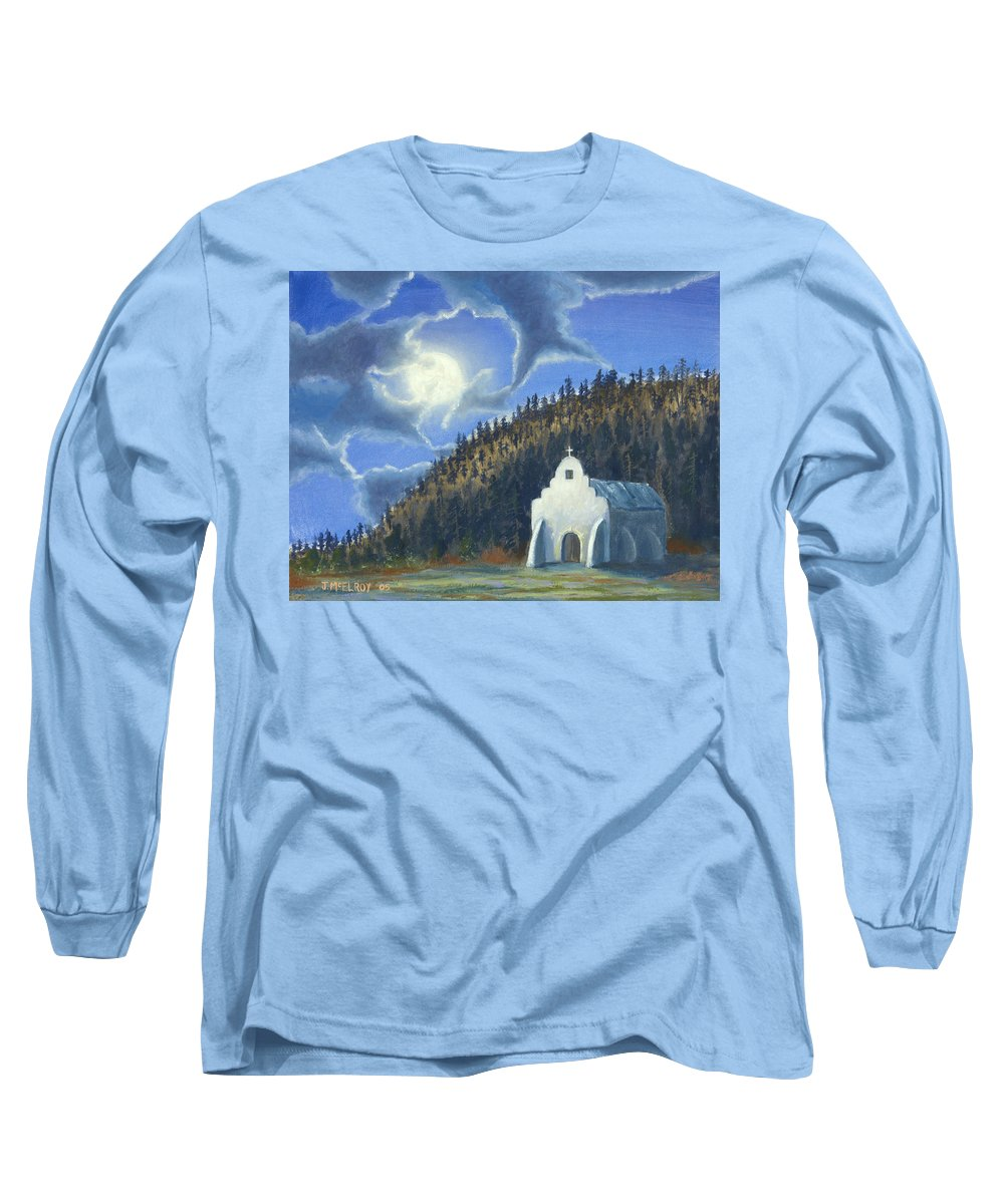 Landscape Long Sleeve T-Shirt featuring the painting Dancing In The Moonlight by Jerry McElroy