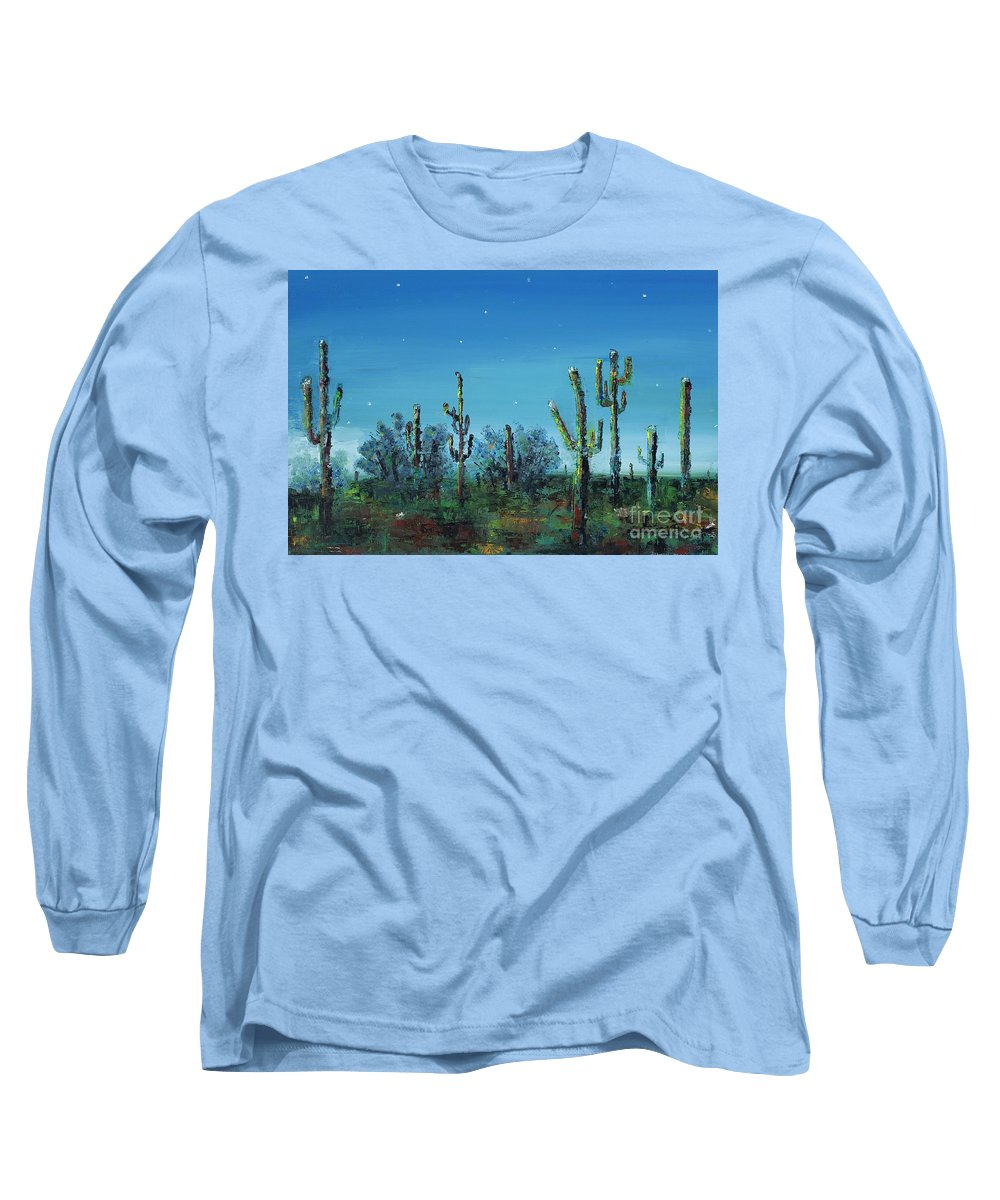 Desert Saguaro Catus In Bloom Long Sleeve T-Shirt featuring the painting Desert Blue by Frances Marino