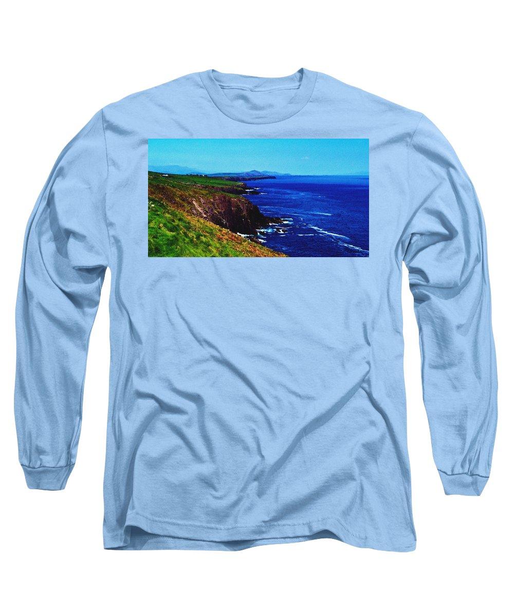 Irish Long Sleeve T-Shirt featuring the digital art Dingle Coastline Near Fahan Ireland by Teresa Mucha