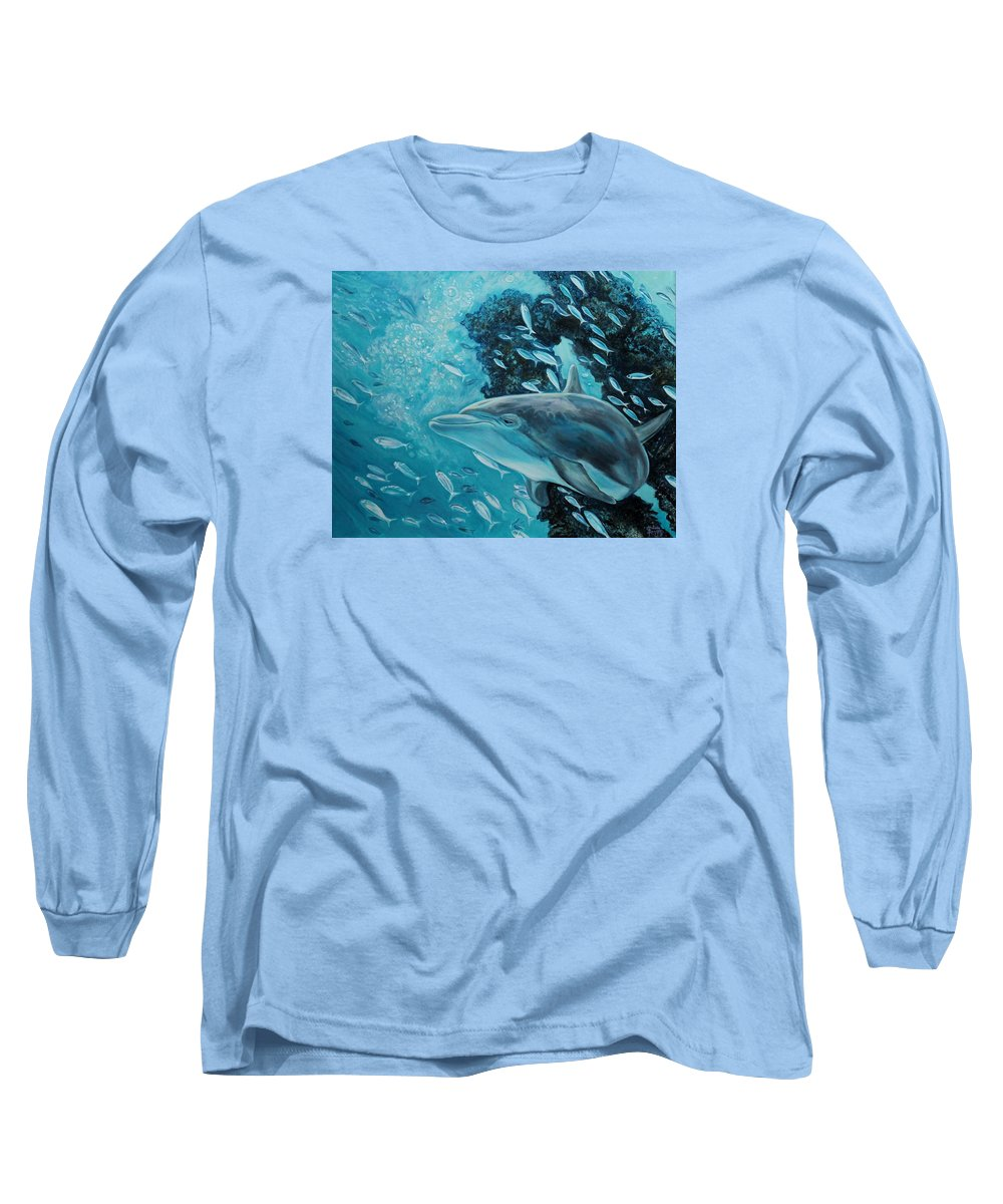 Underwater Scene Long Sleeve T-Shirt featuring the painting Dolphin With Small Fish by Diann Baggett