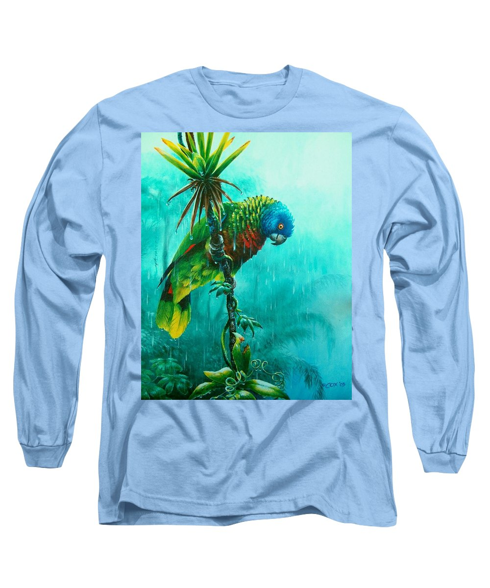 Chris Cox Long Sleeve T-Shirt featuring the painting Drenched - St. Lucia Parrot by Christopher Cox