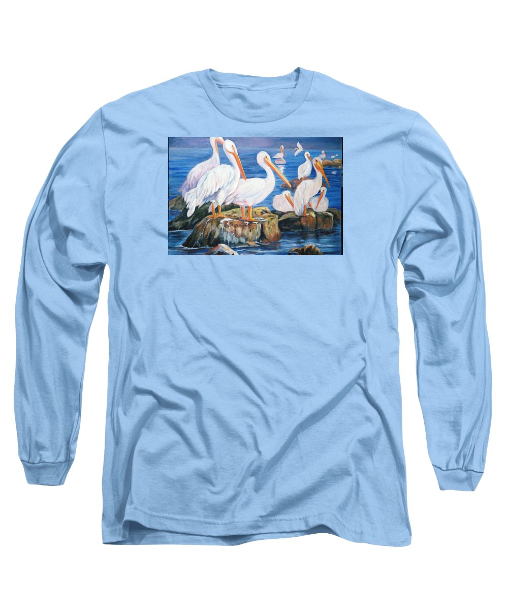 Pelicans On The Louisiana Jetties Long Sleeve T-Shirt featuring the painting Drippin Wet by Anne Dentler