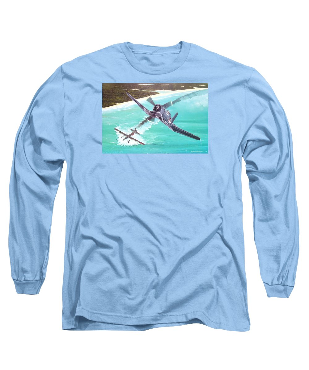 Military Long Sleeve T-Shirt featuring the painting Duel Over New Georgia by Marc Stewart