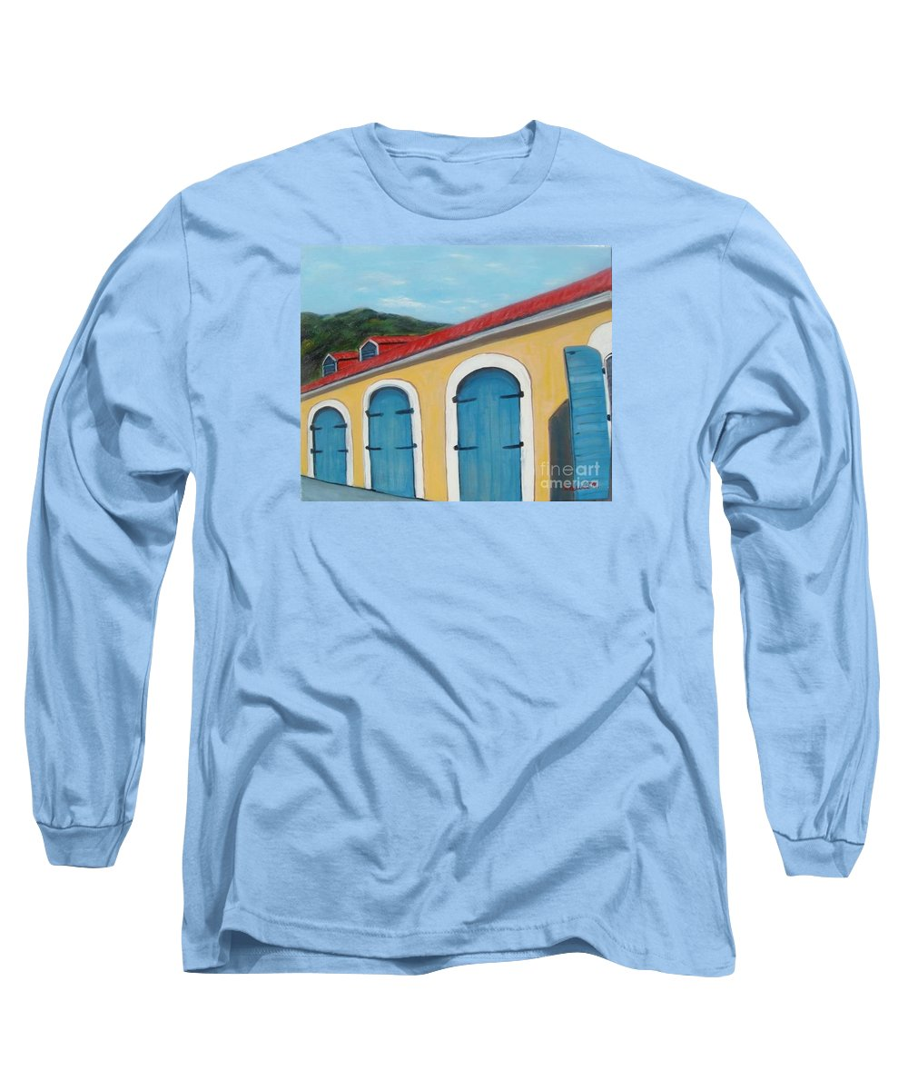 Doors Long Sleeve T-Shirt featuring the painting Dutch Doors Of St. Thomas by Laurie Morgan