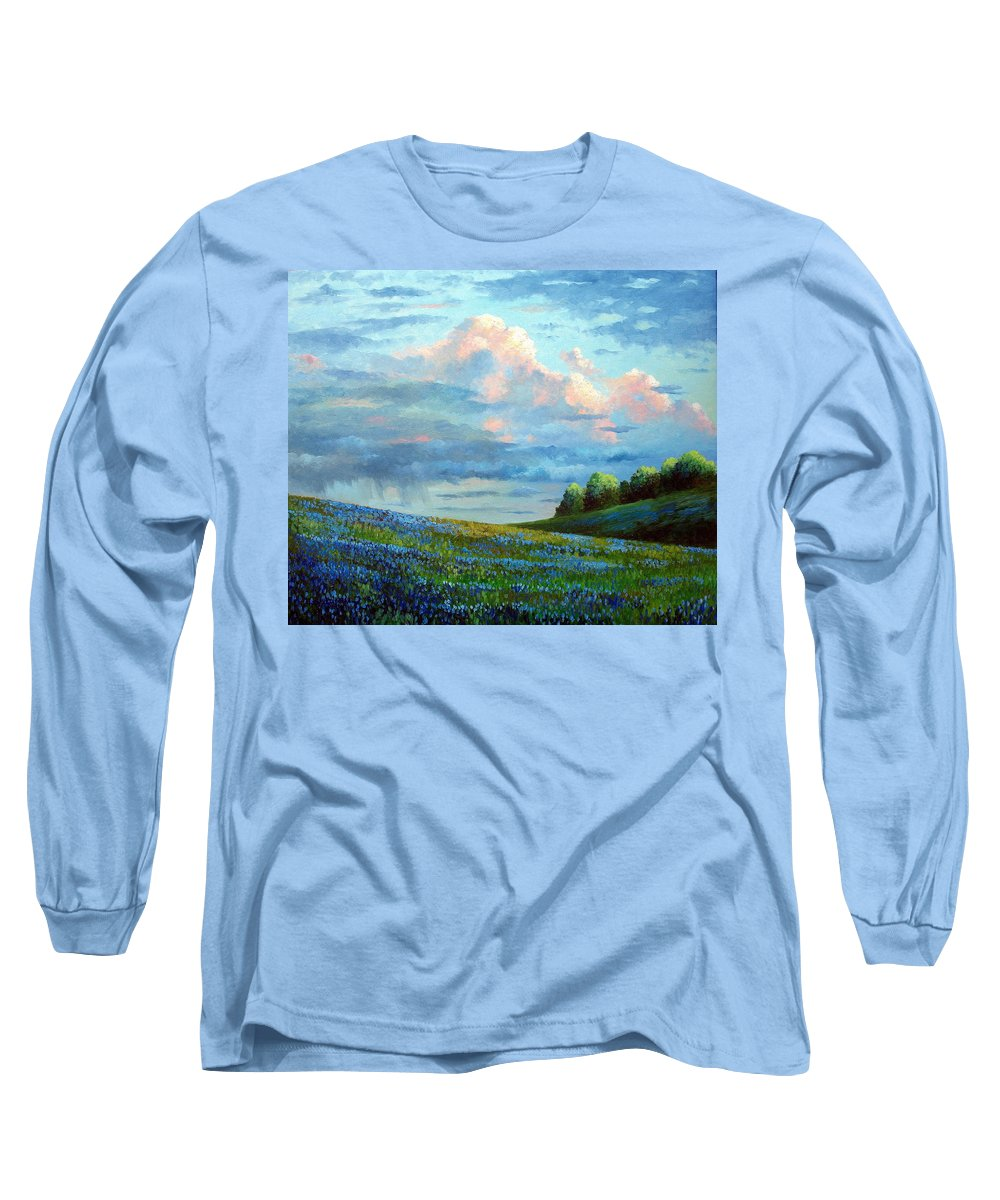 Landscape Long Sleeve T-Shirt featuring the painting Evening Rain by David G Paul