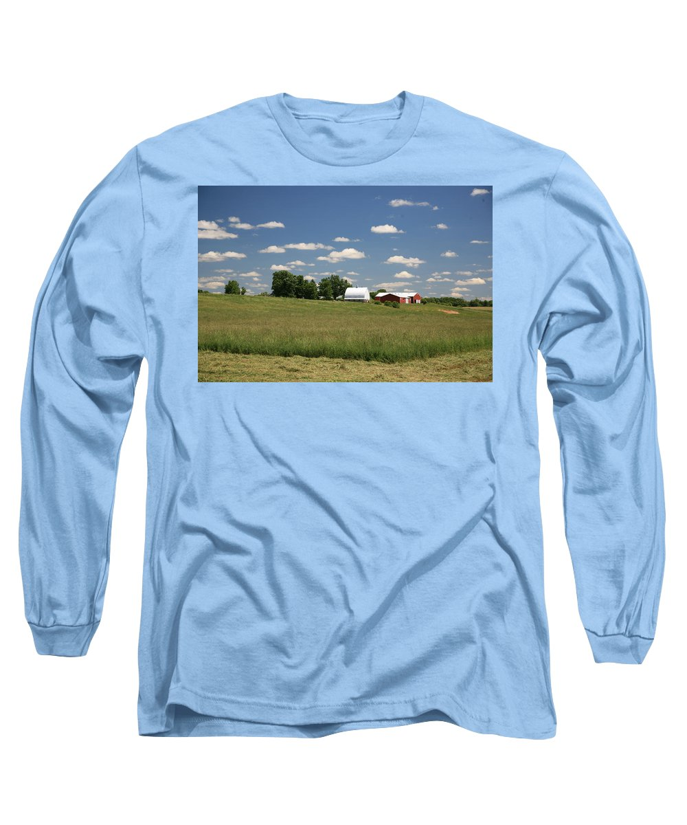 Farm Long Sleeve T-Shirt featuring the photograph First Cutting by Robert Pearson