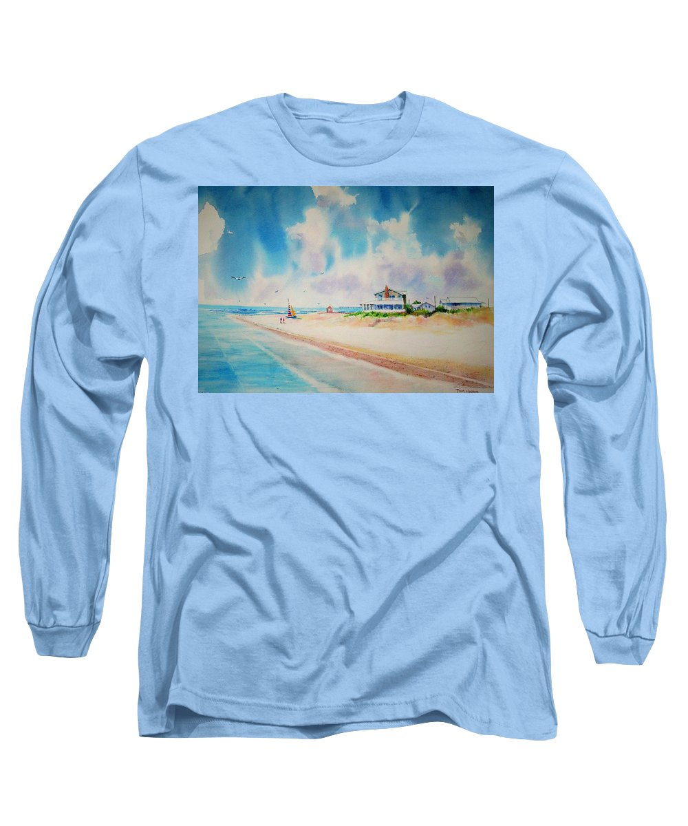 Beach Long Sleeve T-Shirt featuring the painting First Day Of Vacation Is Pricless by Tom Harris