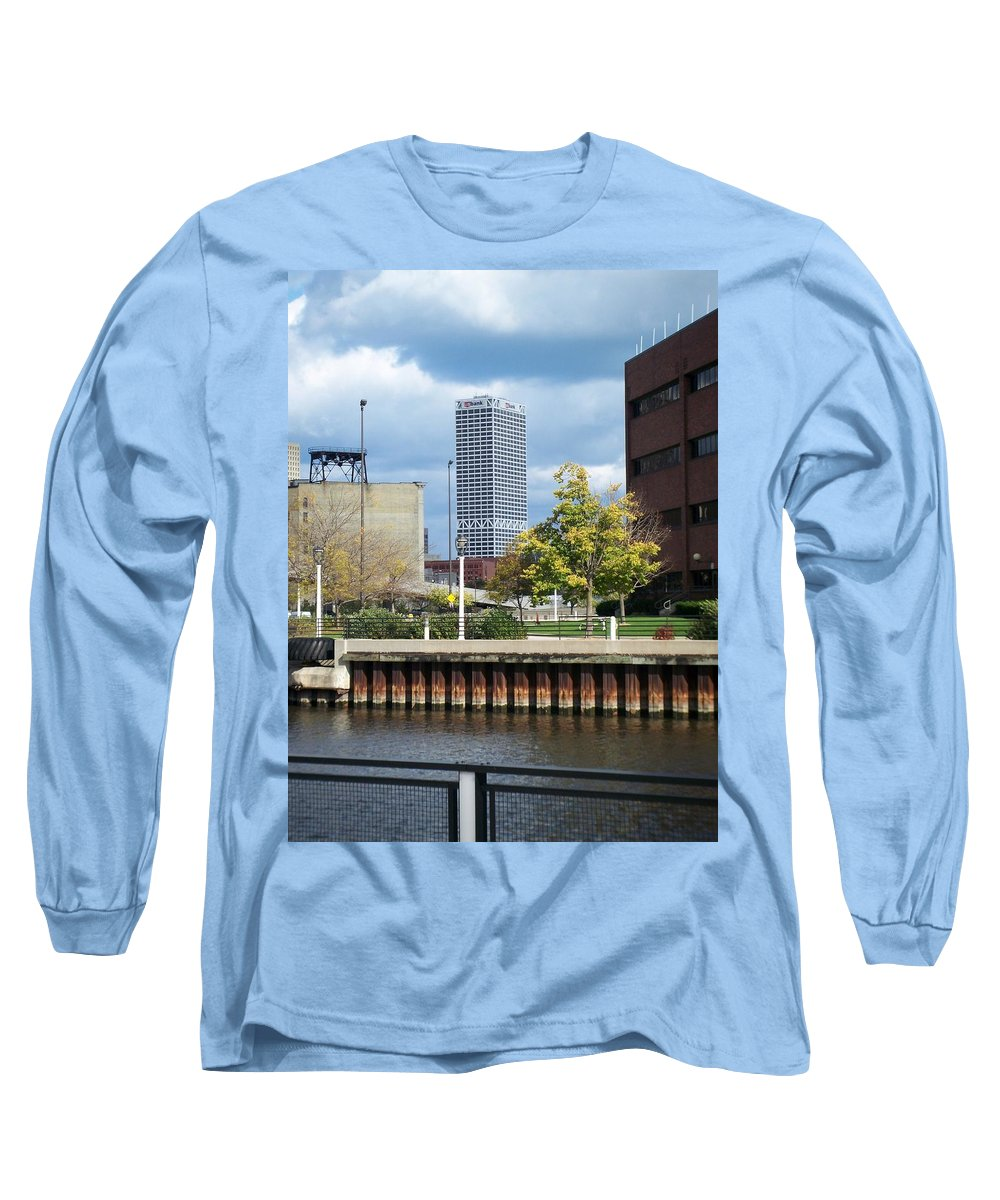 First Star Bank Long Sleeve T-Shirt featuring the photograph First Star Tall View From River by Anita Burgermeister