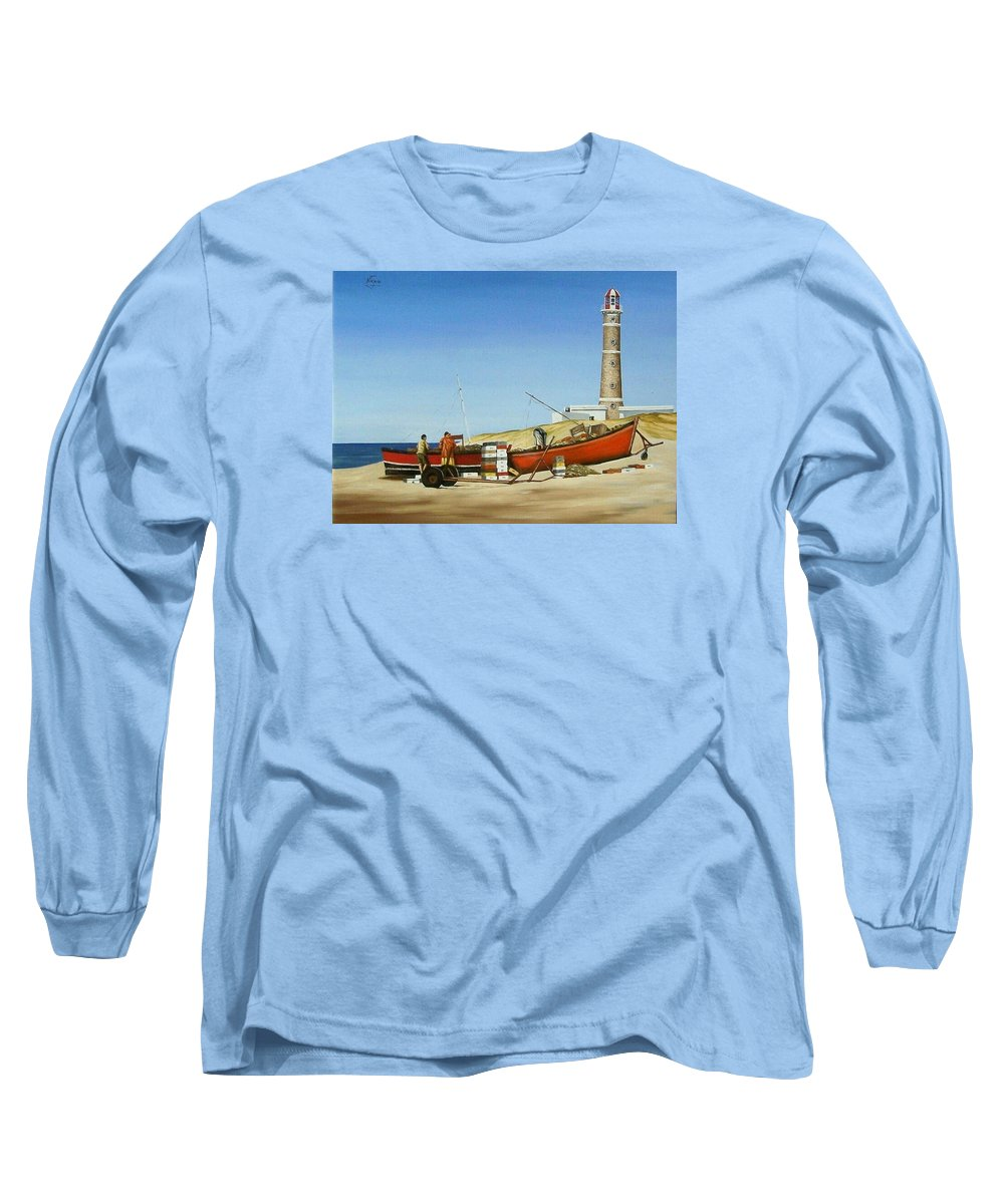 Lighthouse Fishermen Sea Seascape Long Sleeve T-Shirt featuring the painting Fishermen By Lighthouse by Natalia Tejera