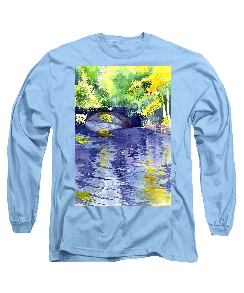 Nature Long Sleeve T-Shirt featuring the painting Floods by Anil Nene