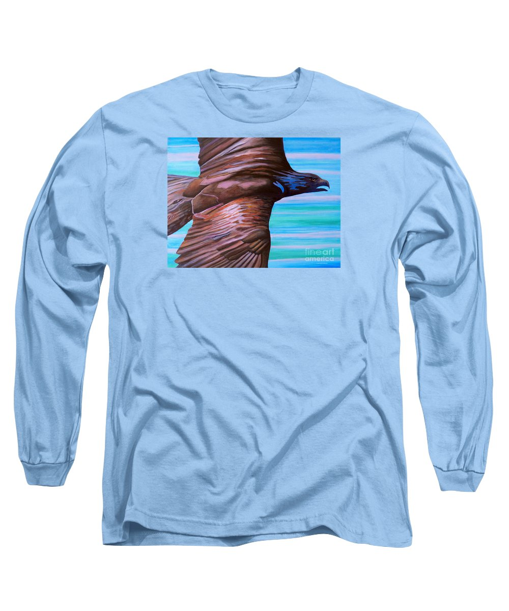 Eagle Long Sleeve T-Shirt featuring the painting Fly Like An Eagle by Brian Commerford
