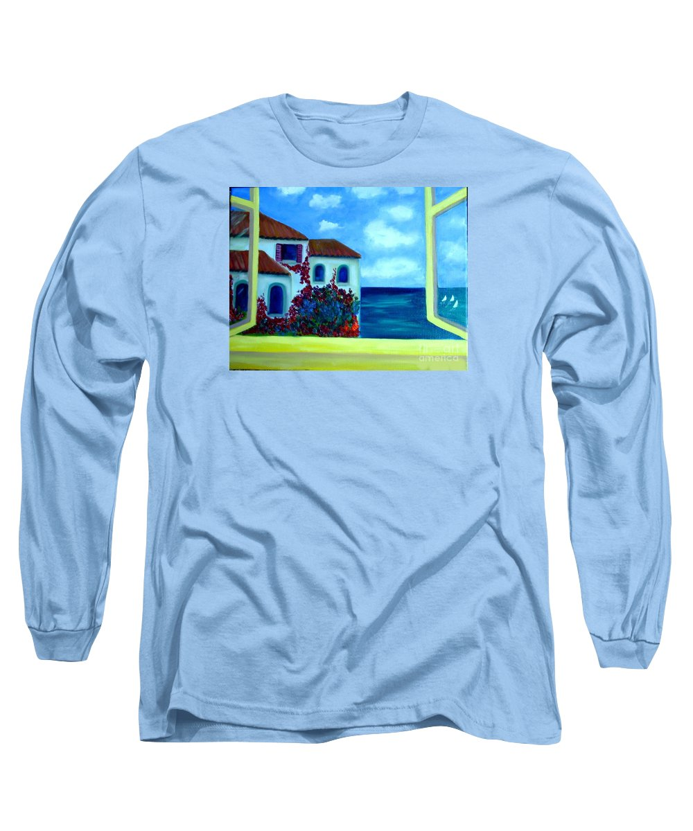 Seascape Long Sleeve T-Shirt featuring the painting Fresh Sea Air by Laurie Morgan