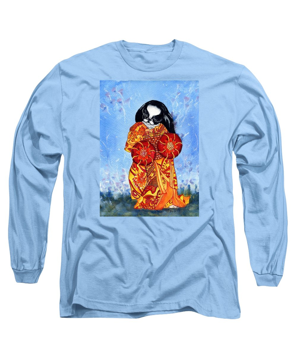 Japanese Chin Long Sleeve T-Shirt featuring the painting Geisha Chin by Kathleen Sepulveda