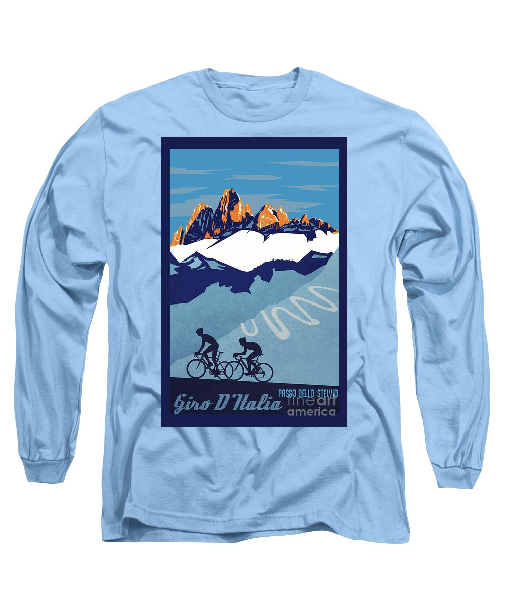 Giro D'italia Long Sleeve T-Shirt featuring the painting Giro D'italia Cycling Poster by Sassan Filsoof