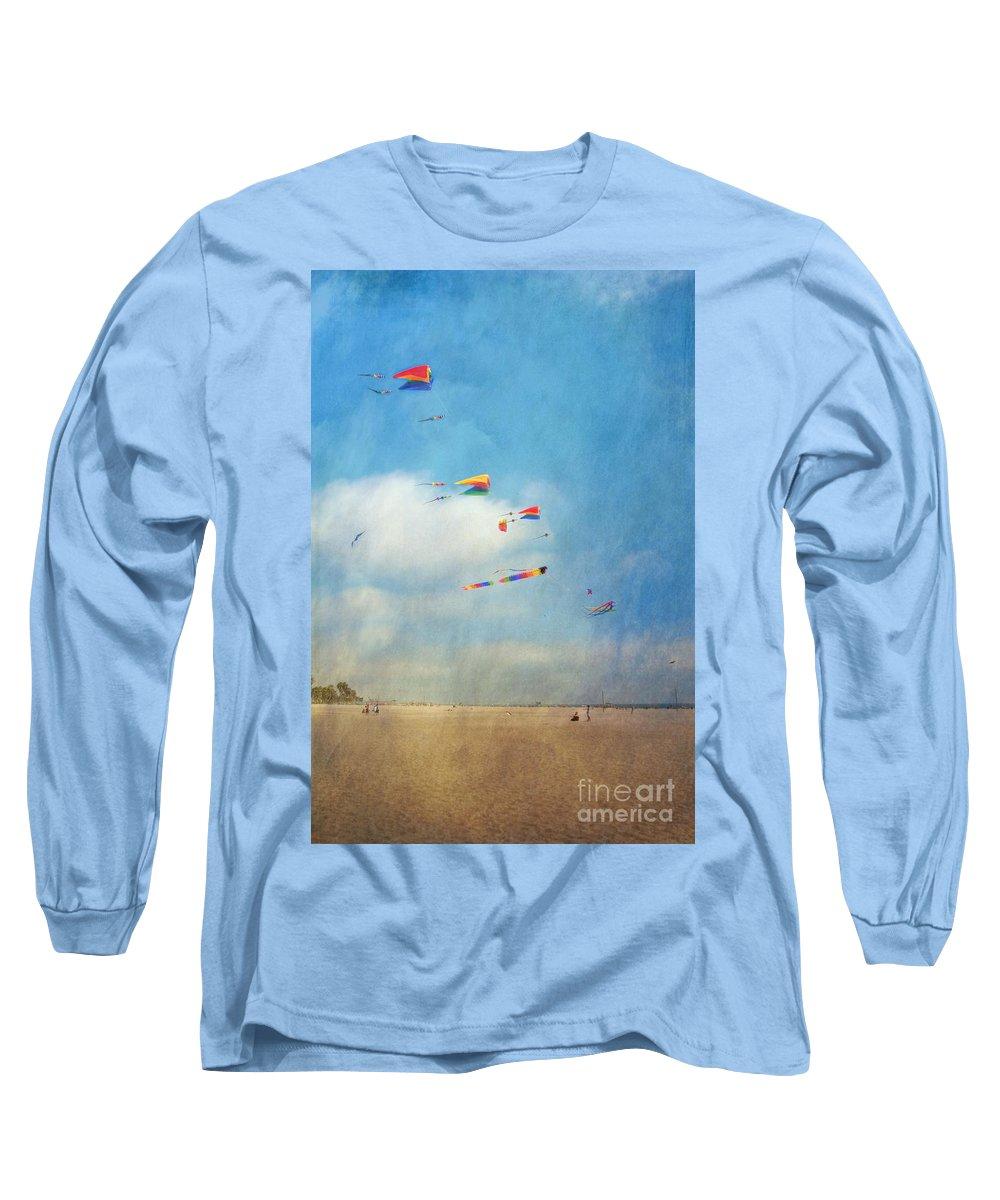 Go Fly A Kite Sand Windy Day Beach Long Sleeve T-Shirt featuring the photograph Go Fly A Kite by David Zanzinger