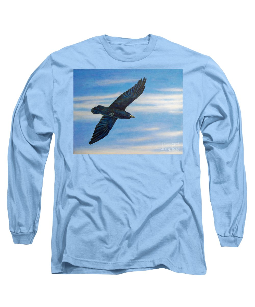 Bird Long Sleeve T-Shirt featuring the painting Going Home by Brian Commerford