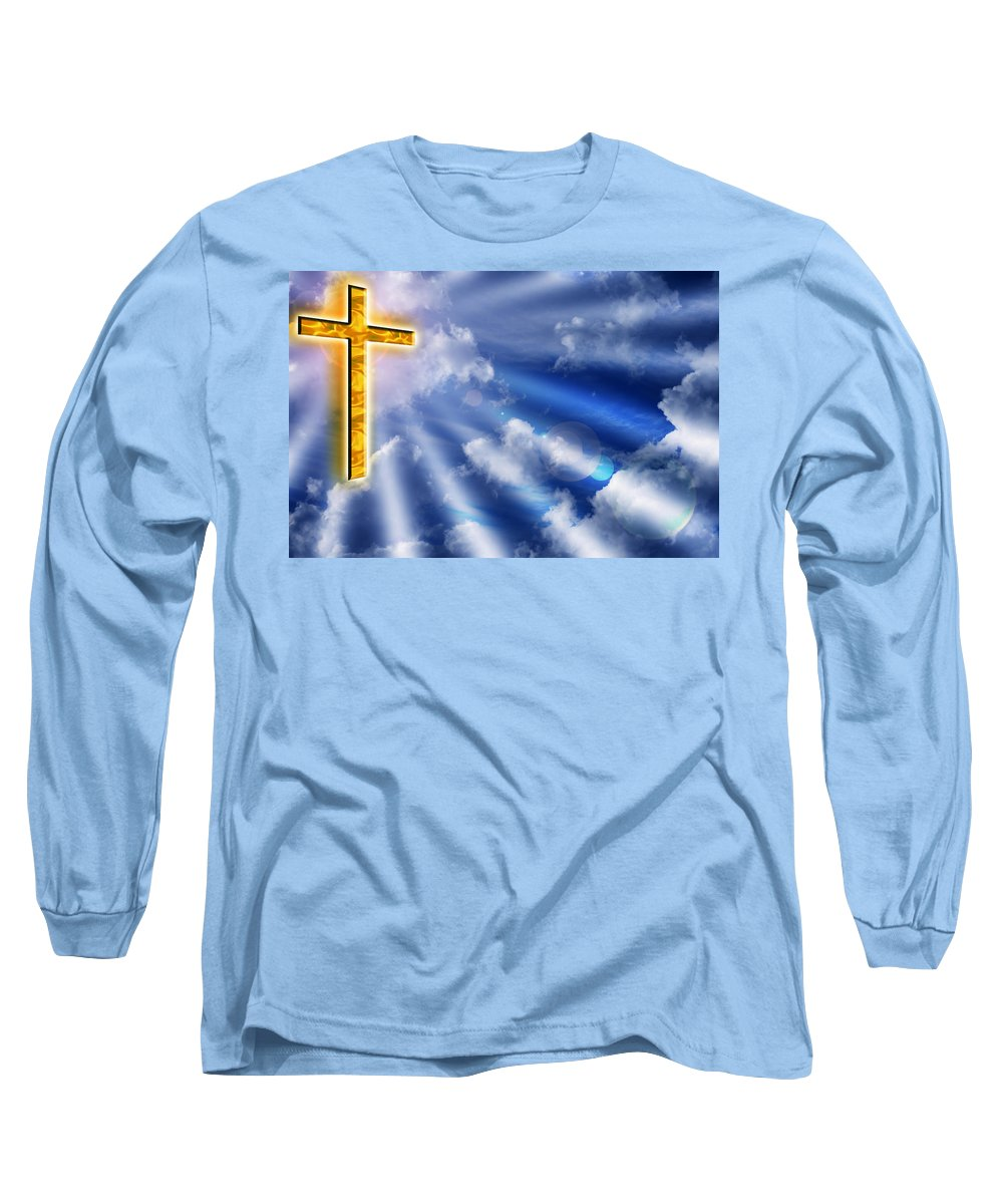 Cross Long Sleeve T-Shirt featuring the photograph Golden Cross by Phill Petrovic