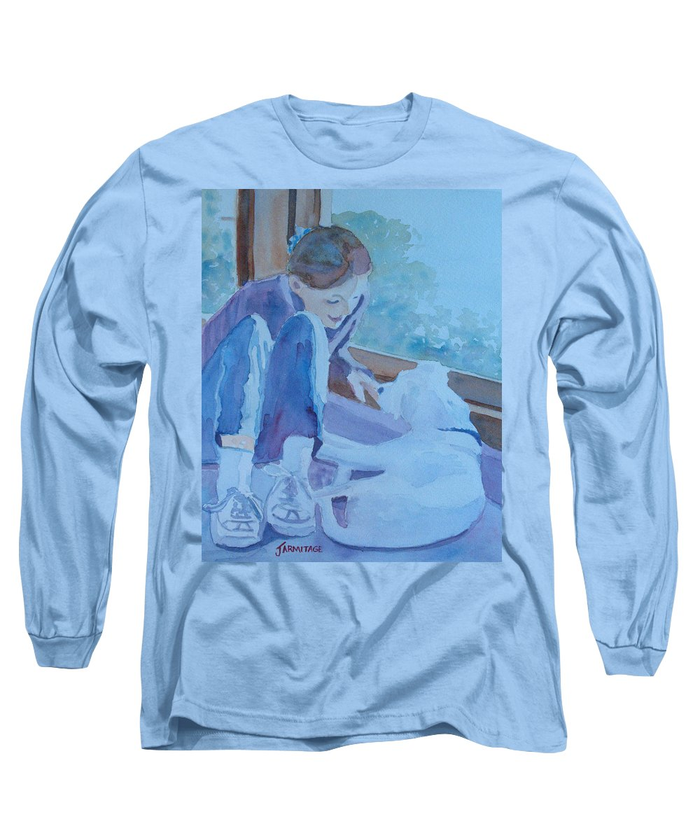 Girl Long Sleeve T-Shirt featuring the painting Good Morning Puppy by Jenny Armitage