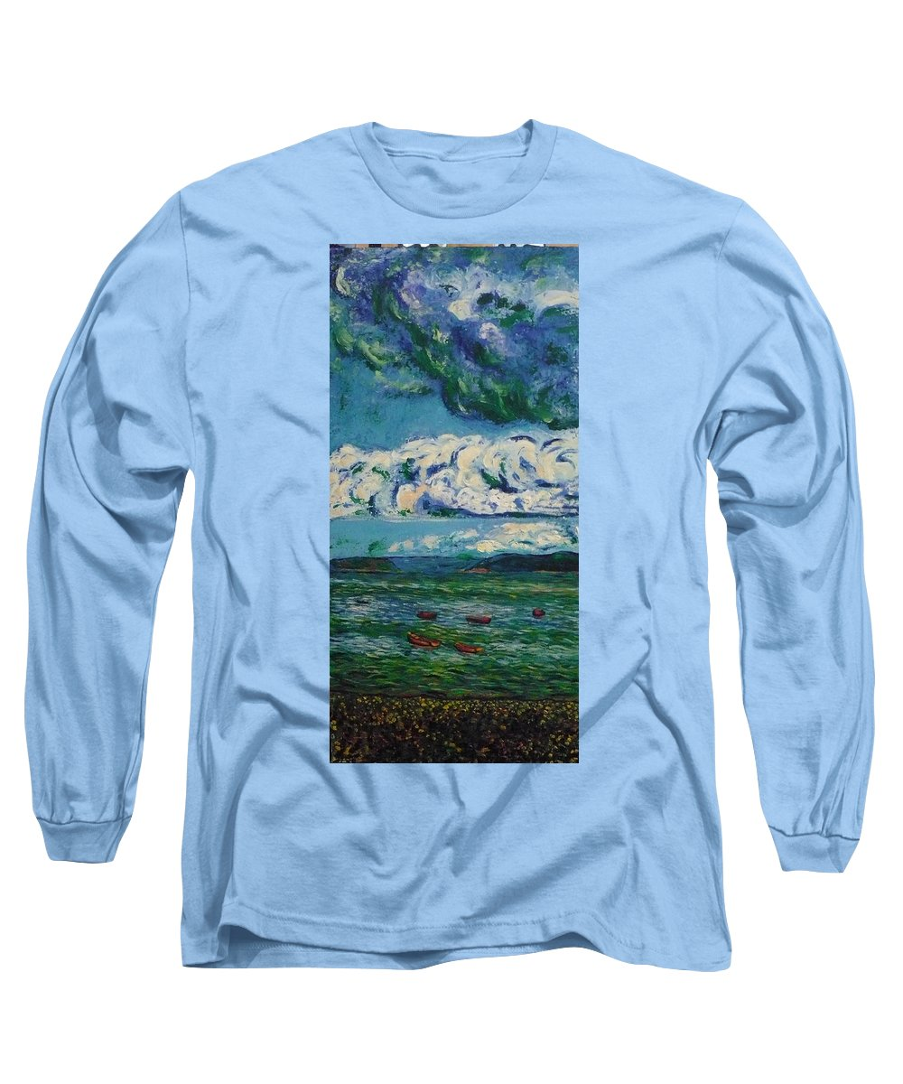Landscape Long Sleeve T-Shirt featuring the painting Green Beach by Ericka Herazo
