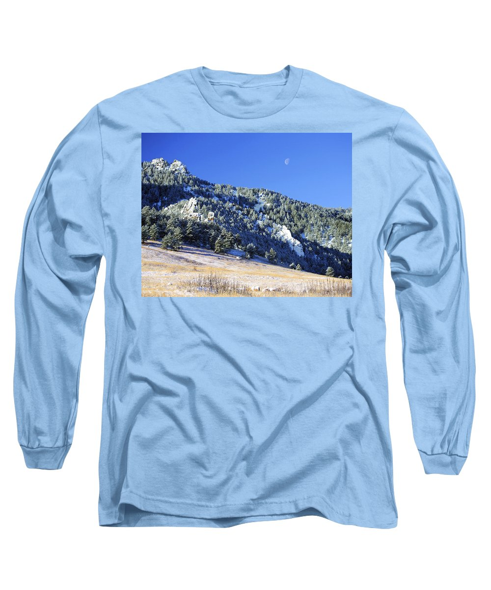 Nature Long Sleeve T-Shirt featuring the photograph Half Moon Over The Flatirons by Marilyn Hunt