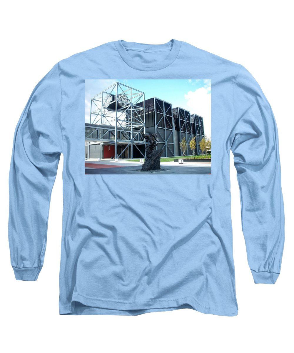 Architechture Long Sleeve T-Shirt featuring the photograph Harley Museum And Statue by Anita Burgermeister