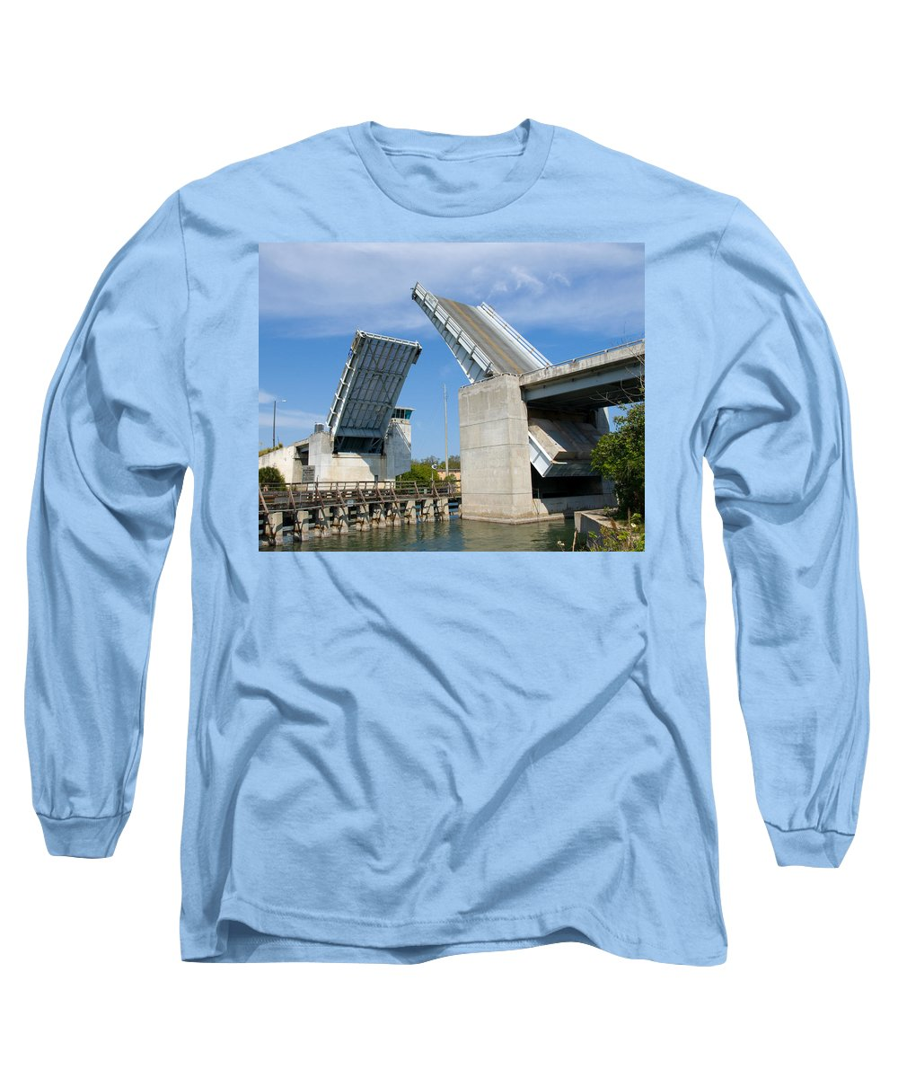 Haulover; Haul; Over; Canal; Waterway; Florida; Drawbridge; Draw; Bridge; Open; Swing; Scene; Scener Long Sleeve T-Shirt featuring the photograph Hauover Canal In Florida by Allan Hughes