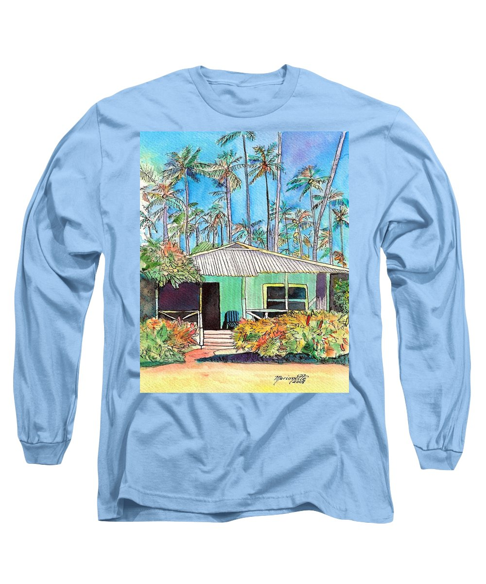 Cottage Long Sleeve T-Shirt featuring the painting Hawaiian Cottage I by Marionette Taboniar