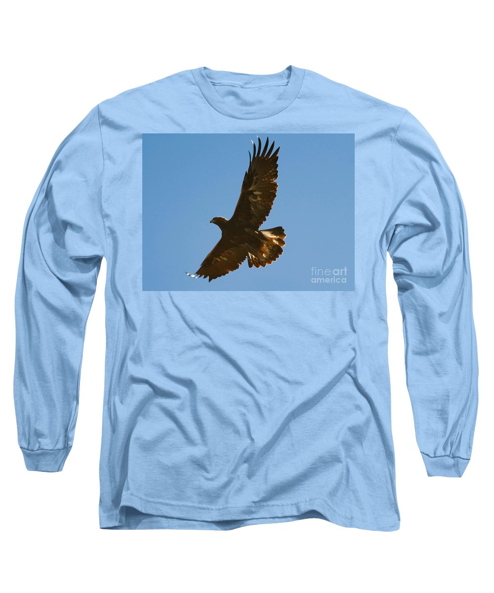 Hawk Long Sleeve T-Shirt featuring the photograph Hawk In Flight by David Lee Thompson