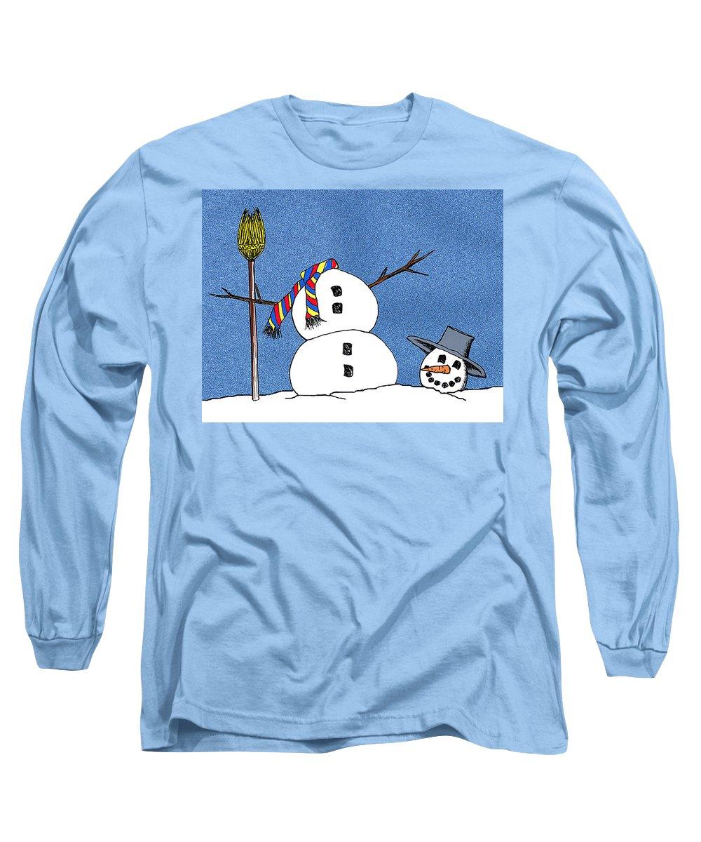 Snowman Long Sleeve T-Shirt featuring the digital art Headless Snowman by Nancy Mueller