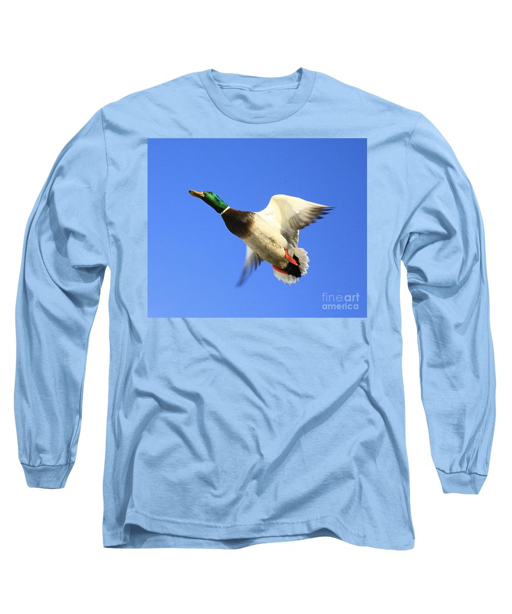 Duck Long Sleeve T-Shirt featuring the photograph Heads Up by Robert Pearson