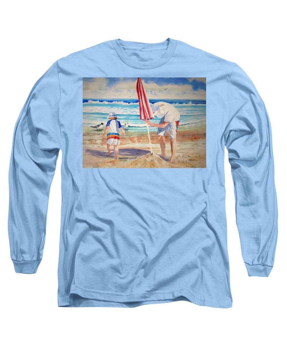 Beach Long Sleeve T-Shirt featuring the painting Helping Dad Set Up The Camp by Tom Harris