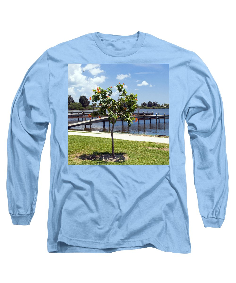 Hibiscus; Rosasinensis; Rosa; Sinensis; Rosa-sinensis; Tree; Bush; Shrub; Plant; Flower; Flowers; Fl Long Sleeve T-Shirt featuring the photograph Hibiscus Rosasinensis With Fruit On The Indian River In Florida by Allan Hughes