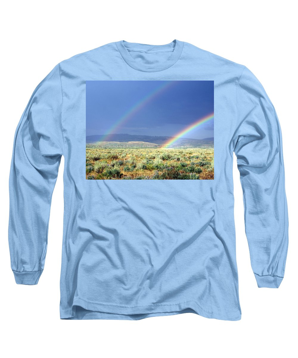 Rainbow Long Sleeve T-Shirt featuring the photograph High Dessert Rainbow by Marty Koch