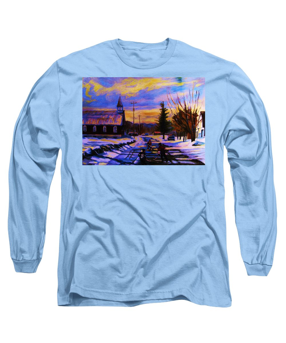 Montreal Long Sleeve T-Shirt featuring the painting Hockey Game In The Village by Carole Spandau