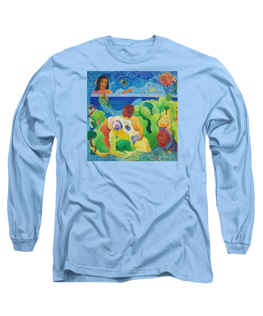Human Relationships Long Sleeve T-Shirt featuring the painting Holding Lifes Illusion by Richard Heley