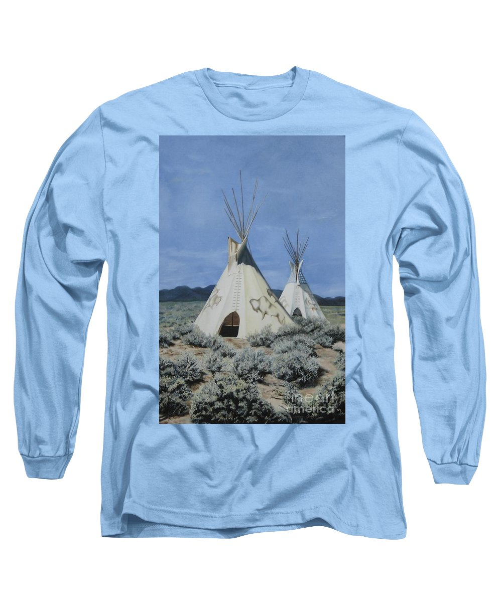 Art Long Sleeve T-Shirt featuring the painting Home On The Range by Mary Rogers