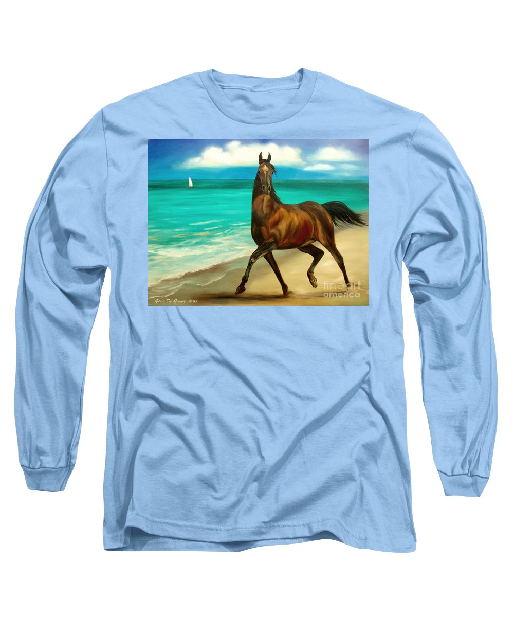 Horse Long Sleeve T-Shirt featuring the painting Horses In Paradise Dance by Gina De Gorna