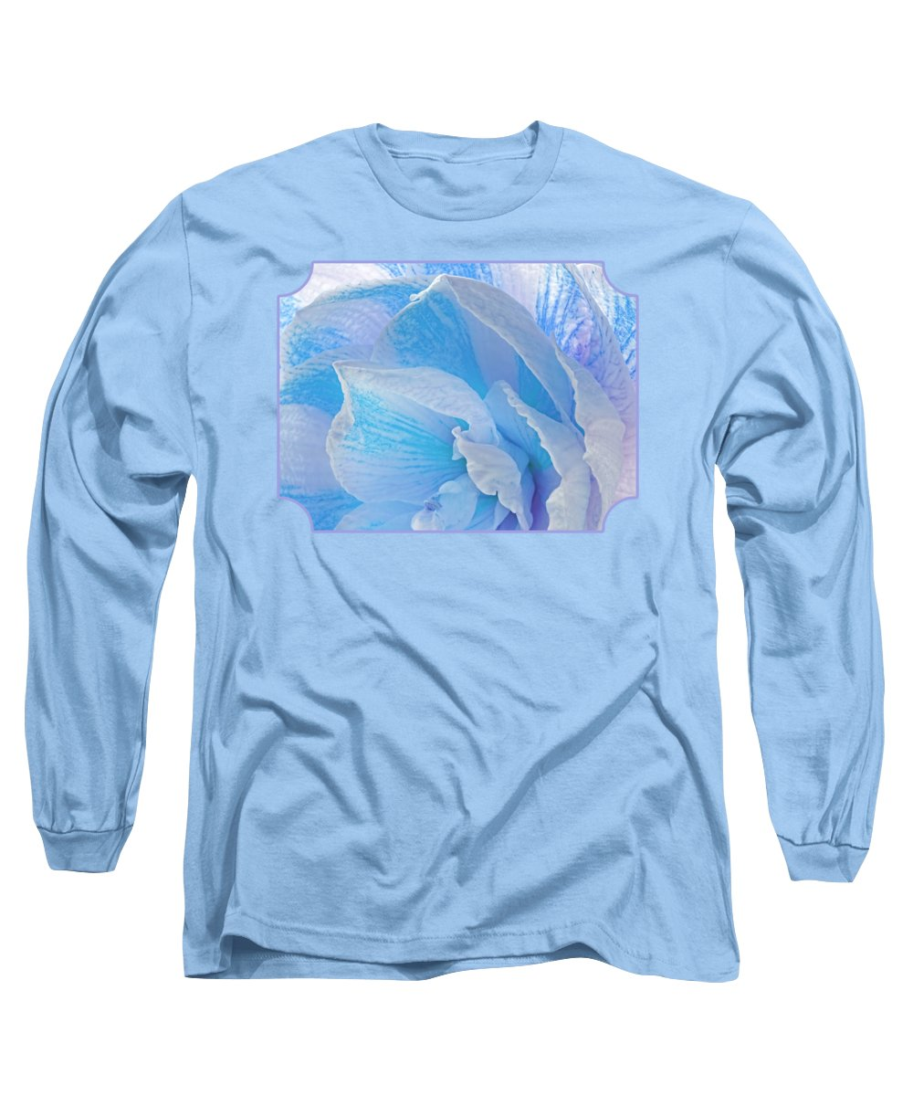 Turquoise Flower Long Sleeve T-Shirt featuring the photograph Ice Blue Amaryllis Abstract by Gill Billington