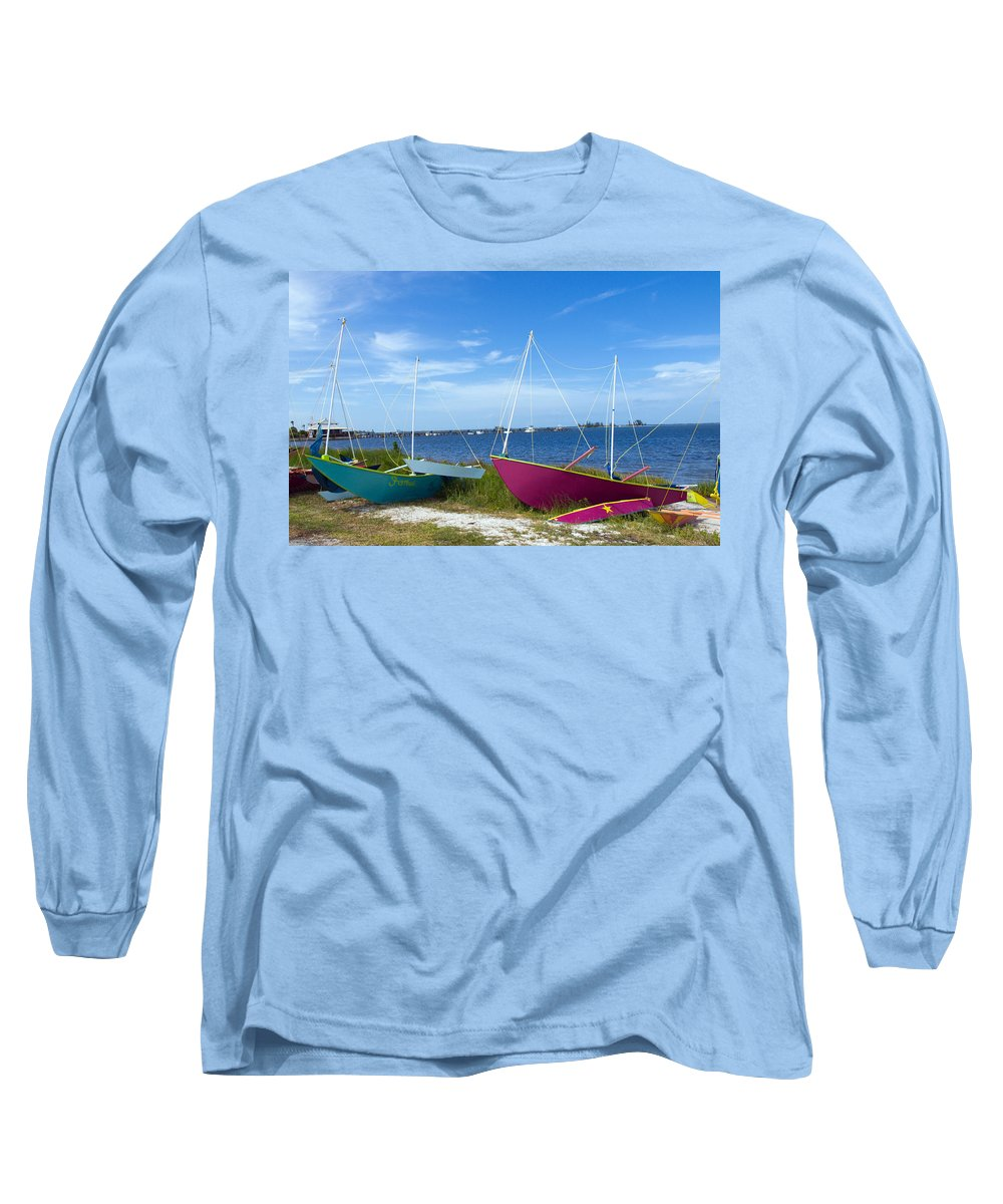 Sail; Sailing; Boat; Sailboat; Mast; Plywood; Homemade; Boy; Scouts; Fleet; Class; Dragon; Tiller; F Long Sleeve T-Shirt featuring the photograph Indian River Lagoon On The Easr Coast Of Florida by Allan Hughes