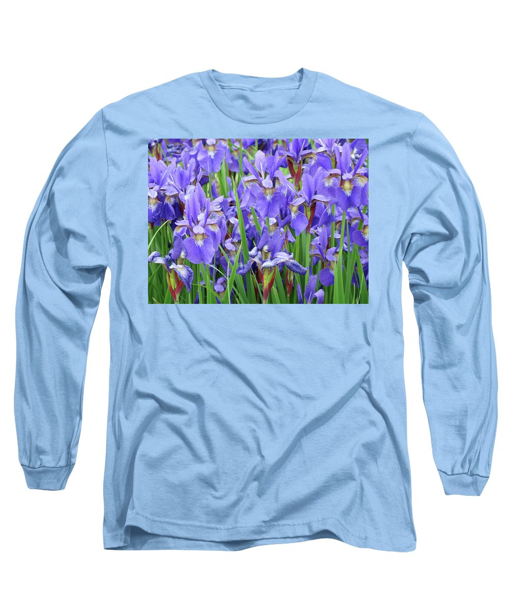 �irises Artwork� Long Sleeve T-Shirt featuring the photograph Iris Flowers Artwork Purple Irises 9 Botanical Garden Floral Art Baslee Troutman by Baslee Troutman