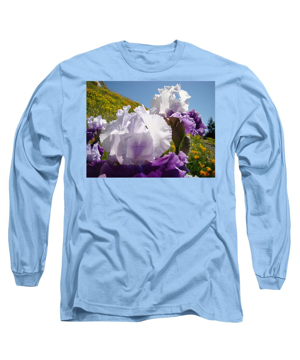 �irises Artwork� Long Sleeve T-Shirt featuring the photograph Iris Flowers Purple White Irises Poppy Hillside Landscape Art Prints Baslee Troutman by Baslee Troutman