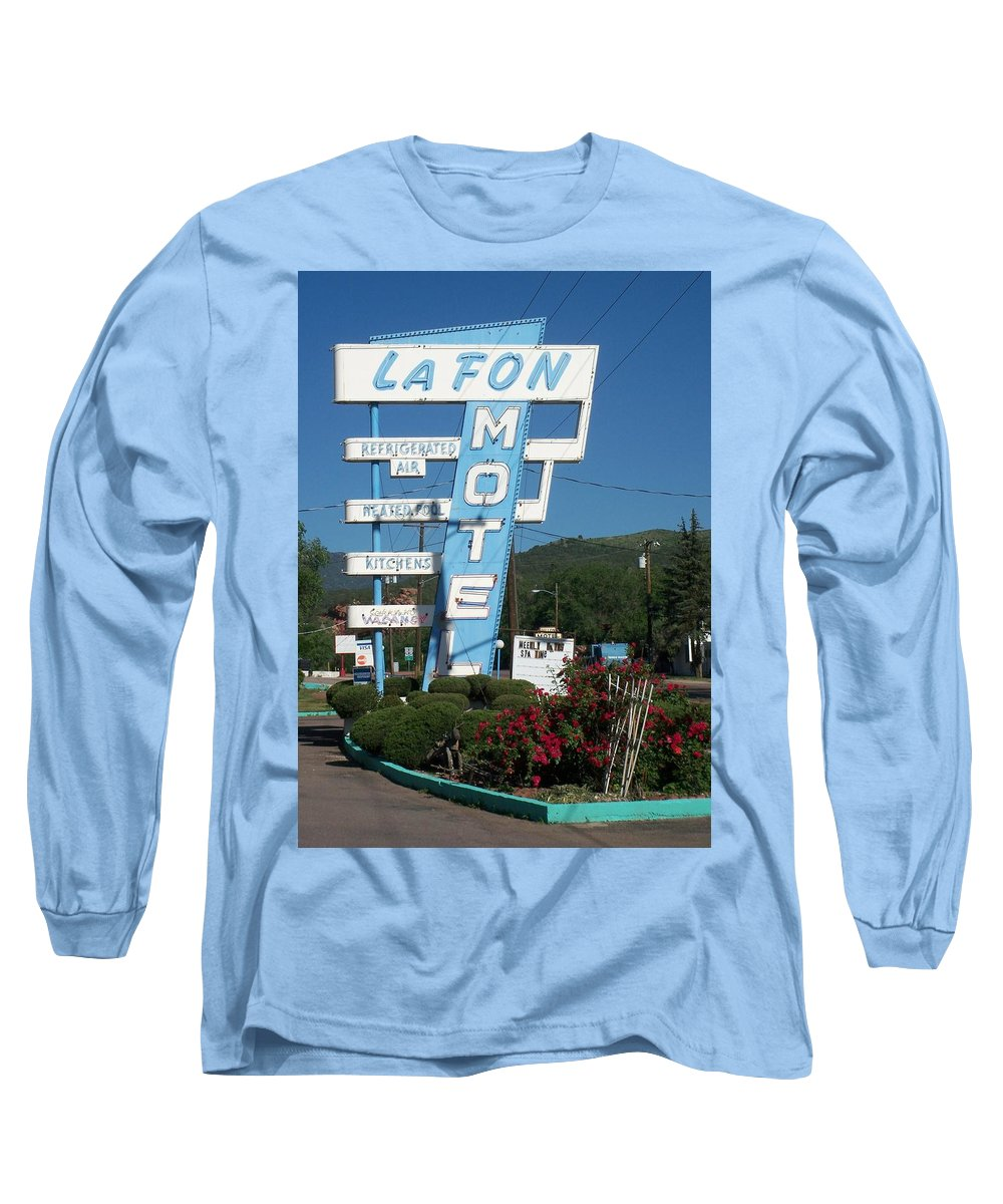 Vintage Motel Signs Long Sleeve T-Shirt featuring the photograph Lafon Motel by Anita Burgermeister