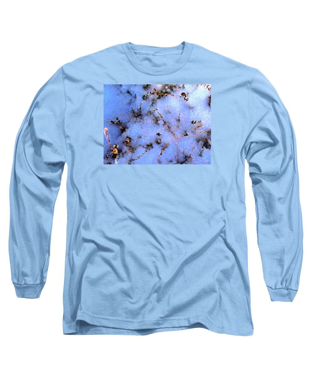 Abstract Long Sleeve T-Shirt featuring the digital art Light Snow In The Woods by Dave Martsolf